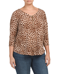 Plus Made In Usa Leopard Crepe Zip Up Top