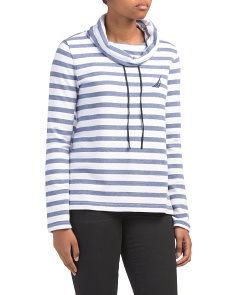 Stripe Fleece High Mock Neck Top