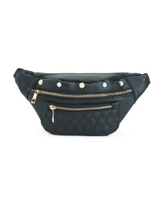 Quilted Fanny Pack With Studded Top