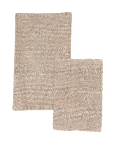 Made In India Set Of 2 Stonewash Bath Rugs