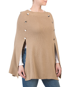 Knit Cape With Buttons