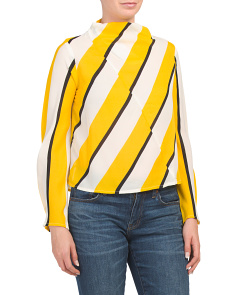 Juniors Long Sleeve Block Stripe Top