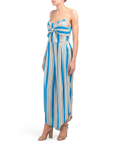 Juniors Tie Front Stripe Jumpsuit