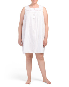 Plus High Neck Chemise With Tassels