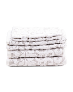 6pc Double Jacquard Loop Terry Dyed Towel Set