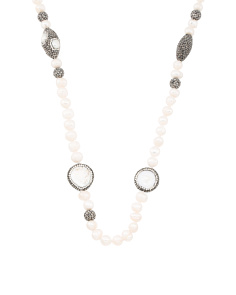 Made In Turkey Crystal And Pearl Long Necklace