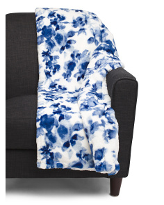 Watercolor Floral Faux Fur Throw