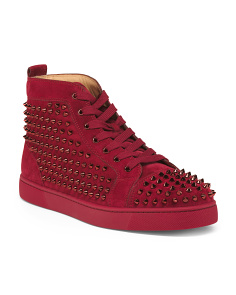 Men's Made In Italy Studded Suede Sneakers
