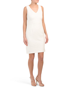 Sleeveless V Neck Sheath Dress