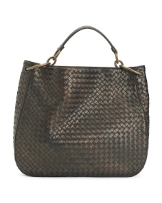 Made In Italy Nappa Leather Woven  Hobo Bag
