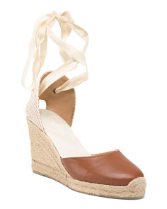 Made In Spain Tall Espadrille Leather Wedges
