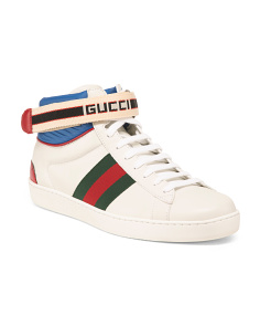 Mens Made In Italy High Top Leather Sneakers
