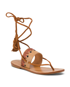 Flat Lace Up Leather Sandals