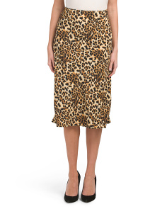 Made In Usa Leopard Print Midi Skirt
