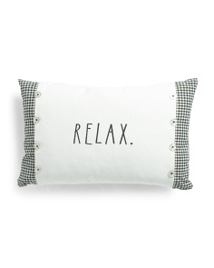 14x24 Gingham Embroidered Relax Pillow