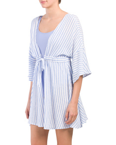 Linen Blend Striped Cover-up With Front Tie