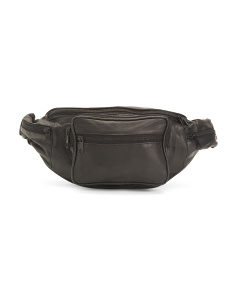 Leather Belt Bag With Front Zip Pocket