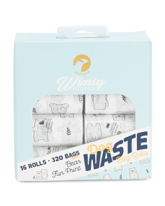 16 Roll Whimsy Bear Waste Bags