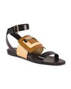 Made In Italy Leather Buckle Detail Sandals