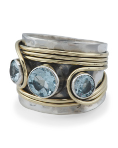 Made In India Sterling Silver And Brass Blue Topaz Ring
