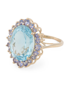 Made In India 14k Gold Blue Topaz And Tanzanite Ring