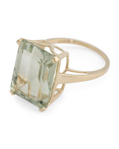 Made In India Sterling Silver 14k Plated Green Amethyst Ring