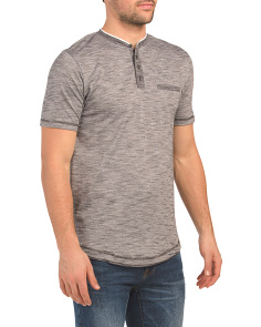 Short Sleeve Textured Henley