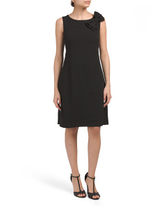 Scuba Crepe Dress With Bow