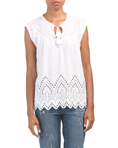 Washed Eyelet Top