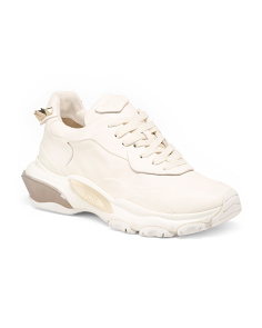 Made In Italy Designer Rockstud Leather Sneakers