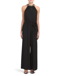 Jumpsuit With Faux Pearl Collar