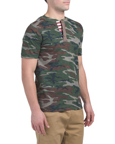Short Sleeve Camo Henley Top