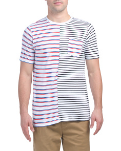 Striped Color Block Crew Neck Tee