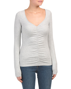 Ruched V Neck Stretch Knit Top