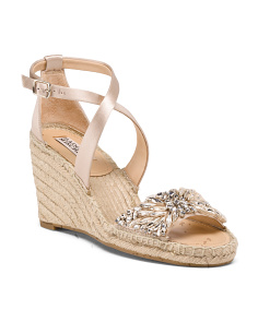 Crystal Embellished Ankle Strap Espadrille Sandals
