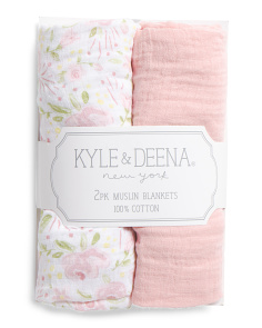 2pk Baby Girl Floral Muslin Blankets