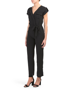 Juniors Short Sleeve Utility Wrap Jumpsuit