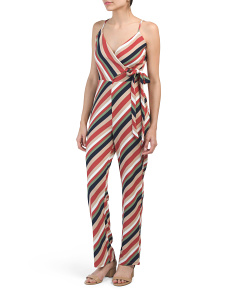 Juniors Stripe Wrap Knit Jumpsuit