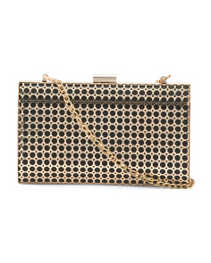 Framed Metal Clutch With Shoulder Strap