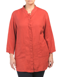 Plus Button Front Linen Top