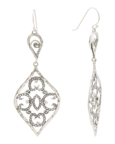 Made In Israel Sterling Silver Diamond Shape Filigree Earrings