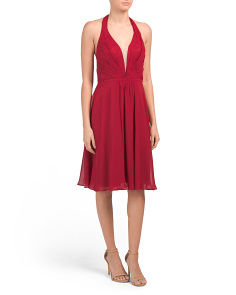 Deep V Halter Dress