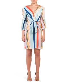 Three-quarter Sleeve Multi Stripe Dress