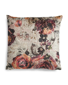 24x24 Floral Velvet Plain Back Pillow