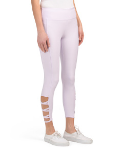 Ankle Length Lattice Side Leggings
