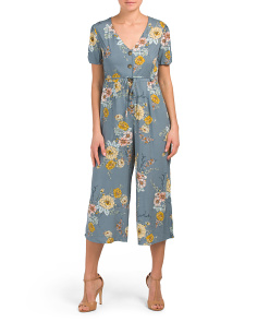 Juniors Floral Button Jumpsuit