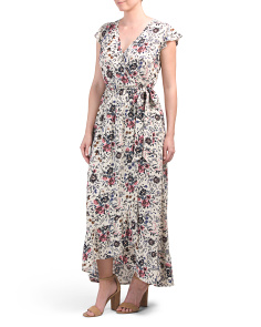 Juniors Floral Faux Wrap Maxi Dress