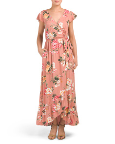 d7c669c3c3b Juniors Floral Wrap Maxi Dress ...
