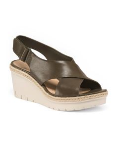 Leather Comfort Wedge Sandals