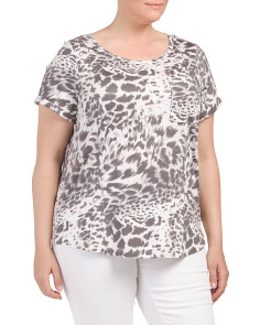 Plus Animal Printed Cap Sleeve Top